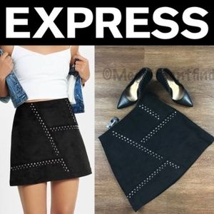 NEW EXPRESS STUDDED FAUX SUEDE MINI SKIRT